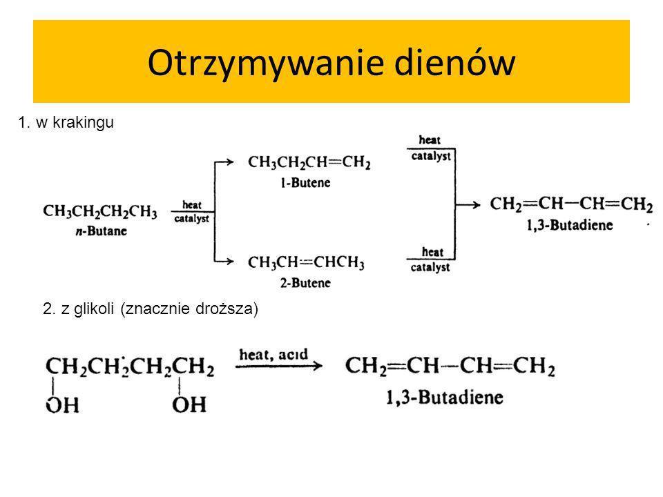 Otrzymywanie dienów 1. w krakingu 2. z glikoli (znacznie droższa)