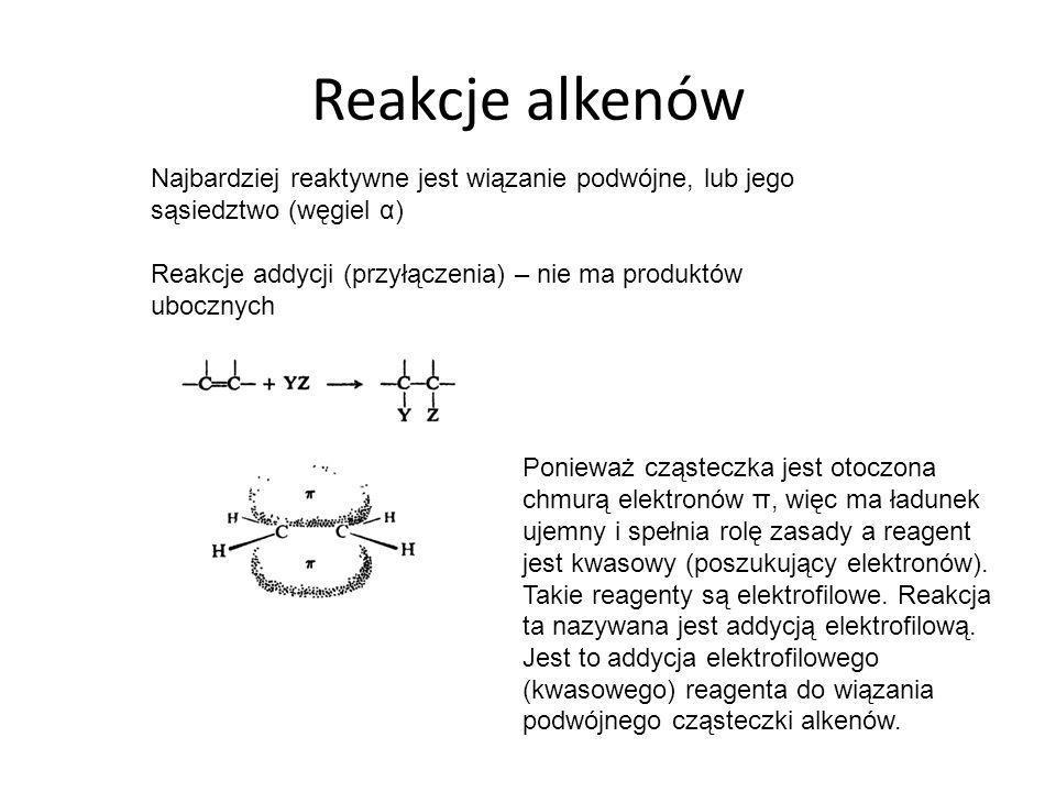 Reakcje alkenów Najbardziej reaktywne jest wiązanie podwójne, lub jego sąsiedztwo (węgiel α)