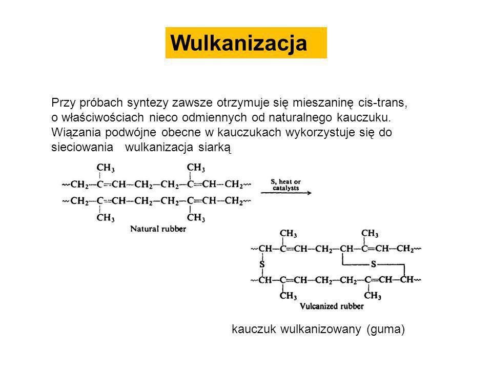 Wulkanizacja Przy próbach syntezy zawsze otrzymuje się mieszaninę cis-trans, o właściwościach nieco odmiennych od naturalnego kauczuku.