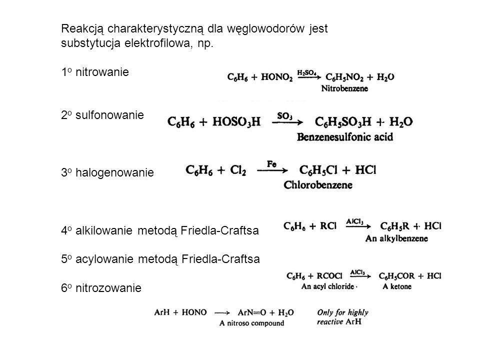 Reakcją charakterystyczną dla węglowodorów jest substytucja elektrofilowa, np.