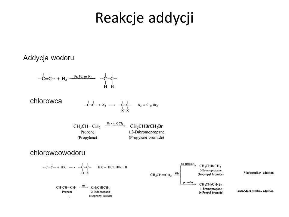 Reakcje addycji Addycja wodoru chlorowca chlorowcowodoru