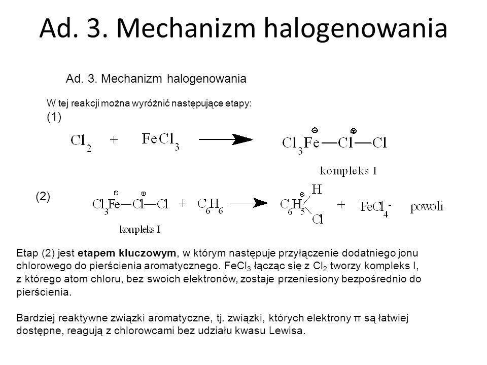 Ad. 3. Mechanizm halogenowania