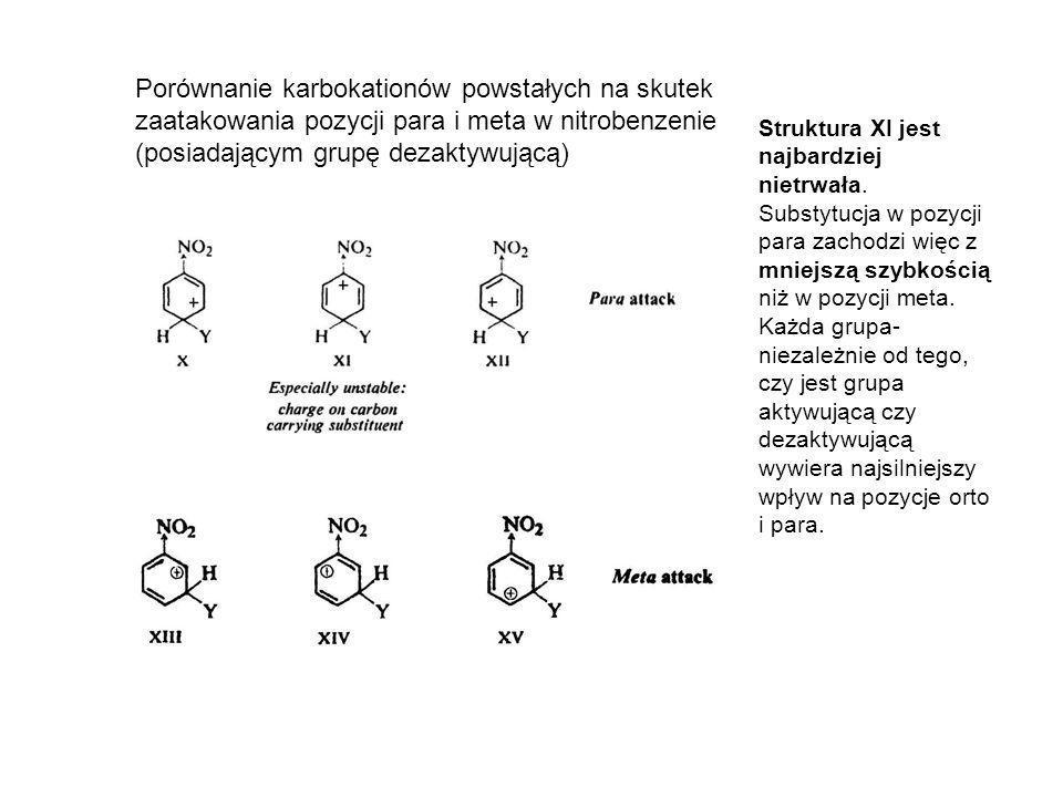 Porównanie karbokationów powstałych na skutek zaatakowania pozycji para i meta w nitrobenzenie (posiadającym grupę dezaktywującą)