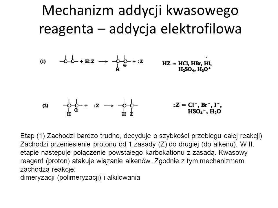 Mechanizm addycji kwasowego reagenta – addycja elektrofilowa