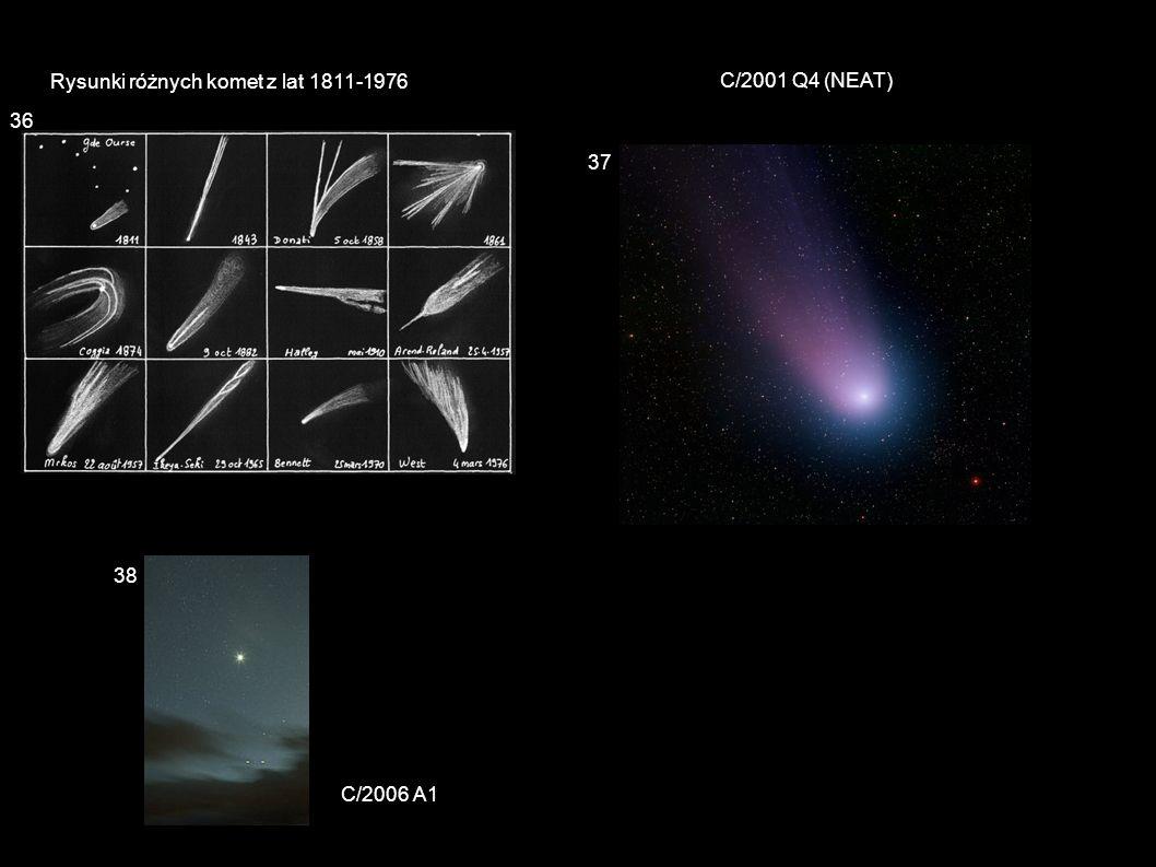 Rysunki różnych komet z lat 1811-1976