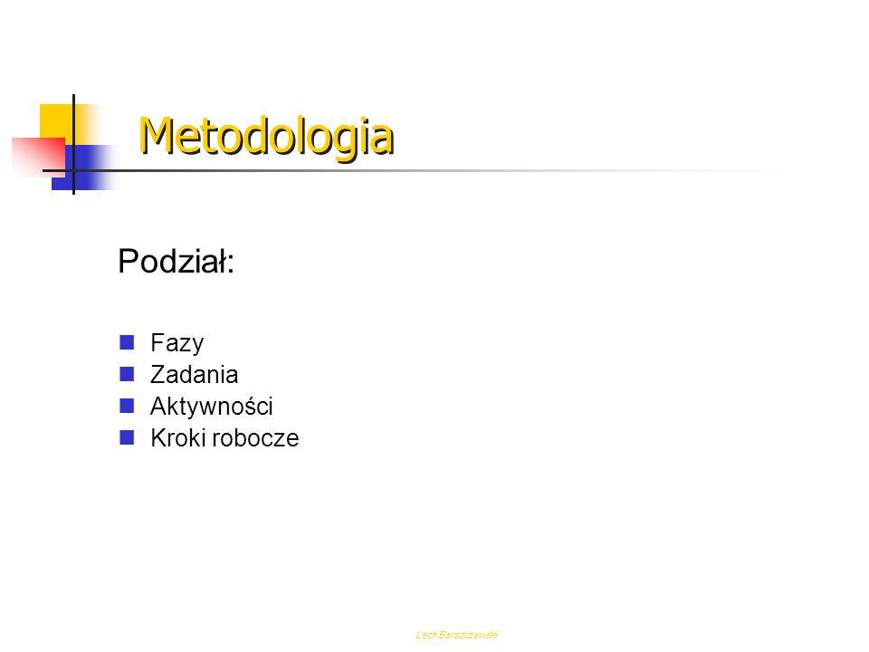 Metodologia Podział: Fazy Zadania Aktywności Kroki robocze