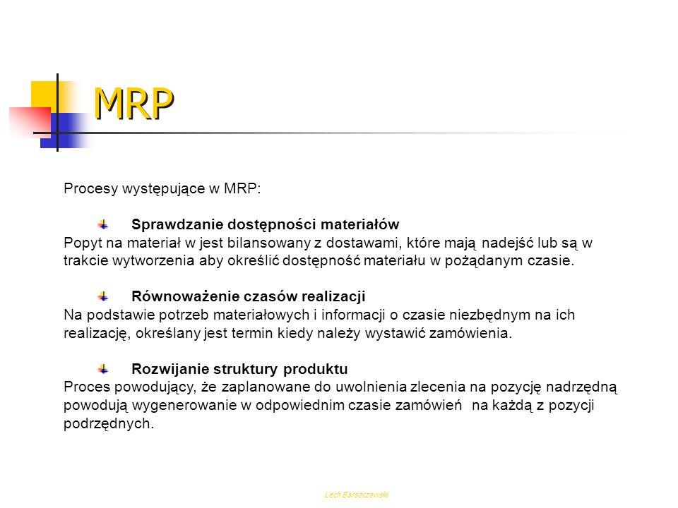 MRP Procesy występujące w MRP: Sprawdzanie dostępności materiałów