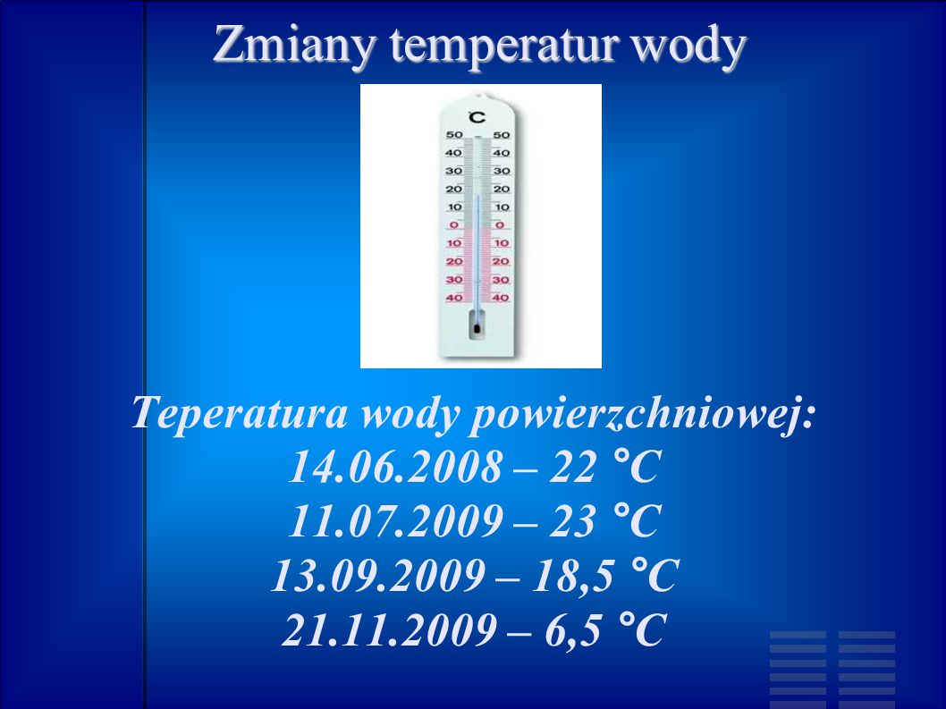Zmiany temperatur wody