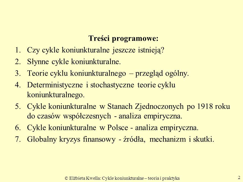 Treści programowe: Czy cykle koniunkturalne jeszcze istnieją Słynne cykle koniunkturalne. Teorie cyklu koniunkturalnego – przegląd ogólny.