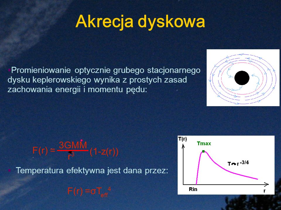 · Akrecja dyskowa 3GMM F(r) = (1-z(r)) r3 F(r) =σTeff4