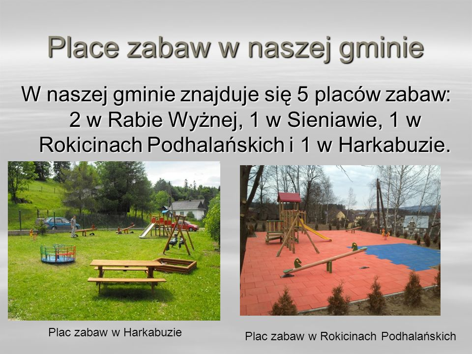 Place zabaw w naszej gminie