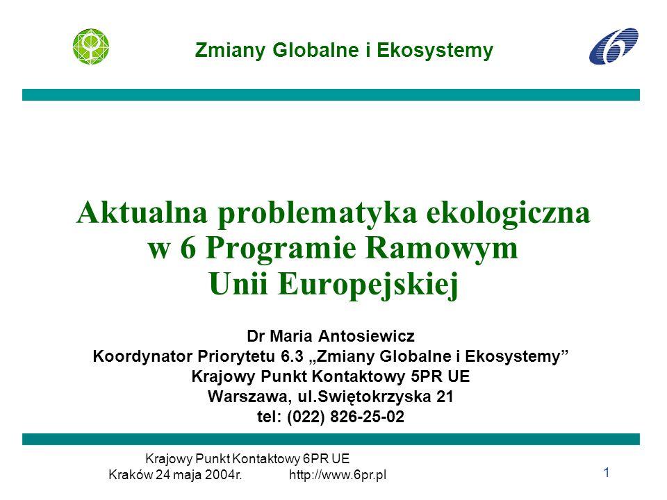 Aktualna problematyka ekologiczna w 6 Programie Ramowym Unii Europejskiej