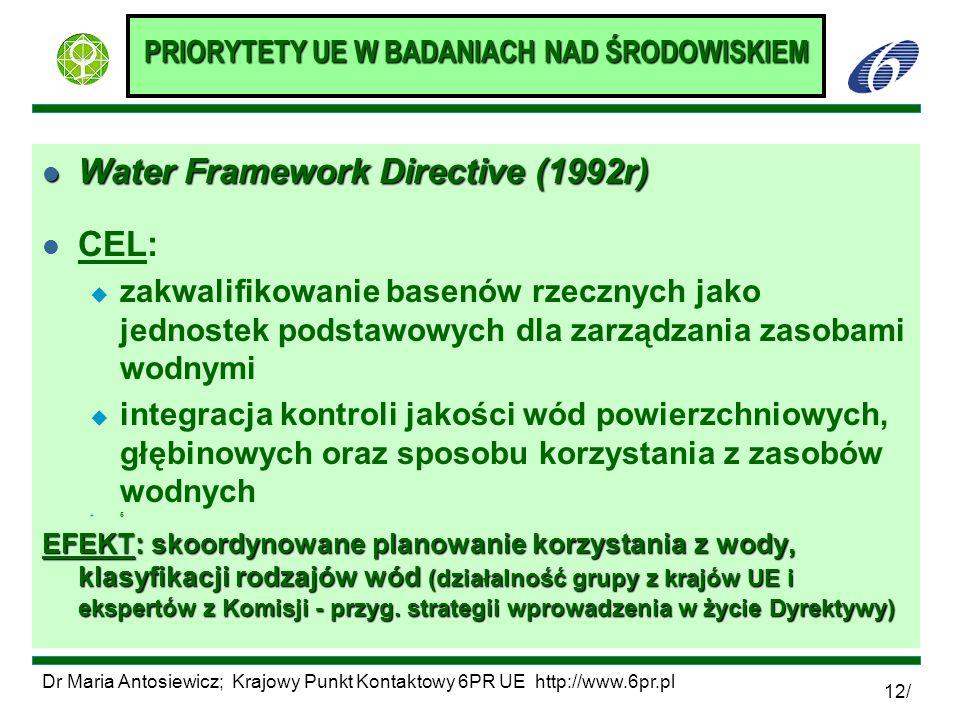 PRIORYTETY UE W BADANIACH NAD ŚRODOWISKIEM