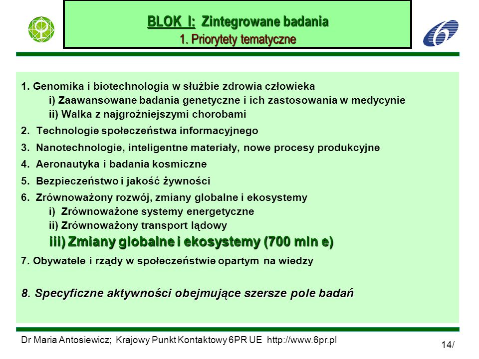 BLOK I: Zintegrowane badania 1. Priorytety tematyczne
