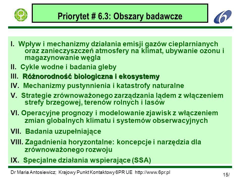 Priorytet # 6.3: Obszary badawcze