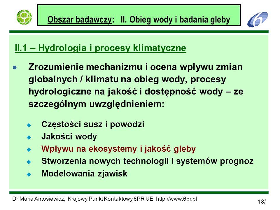 Obszar badawczy: II. Obieg wody i badania gleby