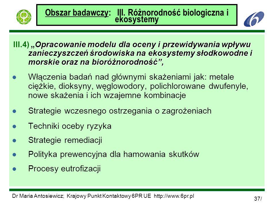 Obszar badawczy: III. Różnorodność biologiczna i ekosystemy