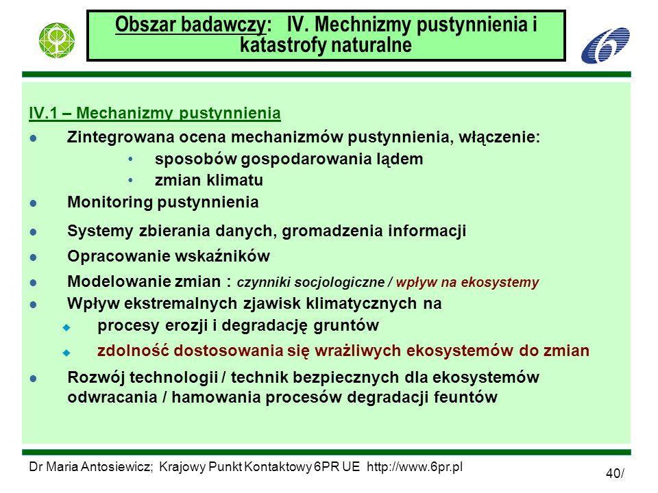 Obszar badawczy: IV. Mechnizmy pustynnienia i katastrofy naturalne