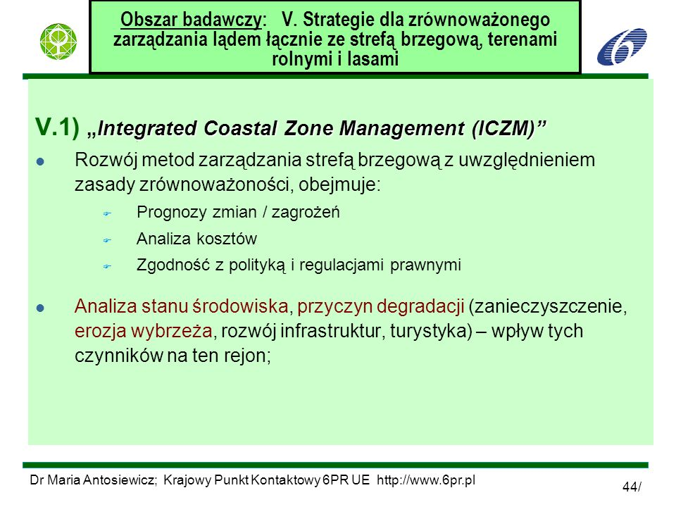 "V.1) ""Integrated Coastal Zone Management (ICZM)"