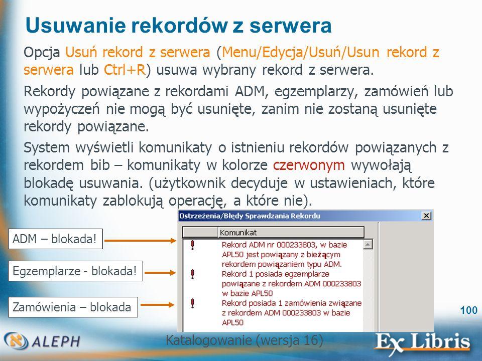 Usuwanie rekordów z serwera