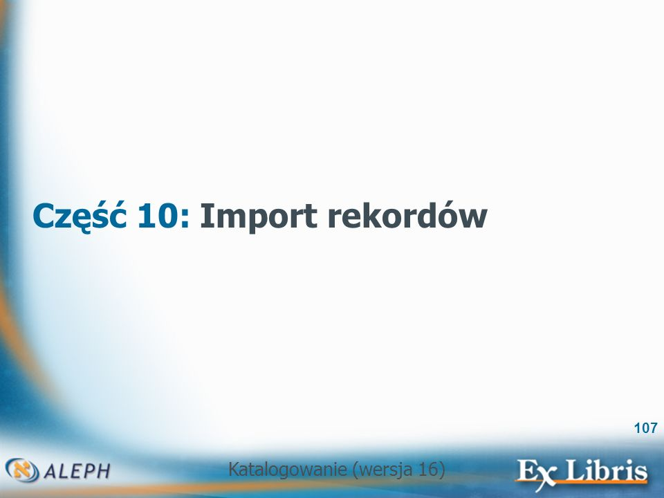 Część 10: Import rekordów