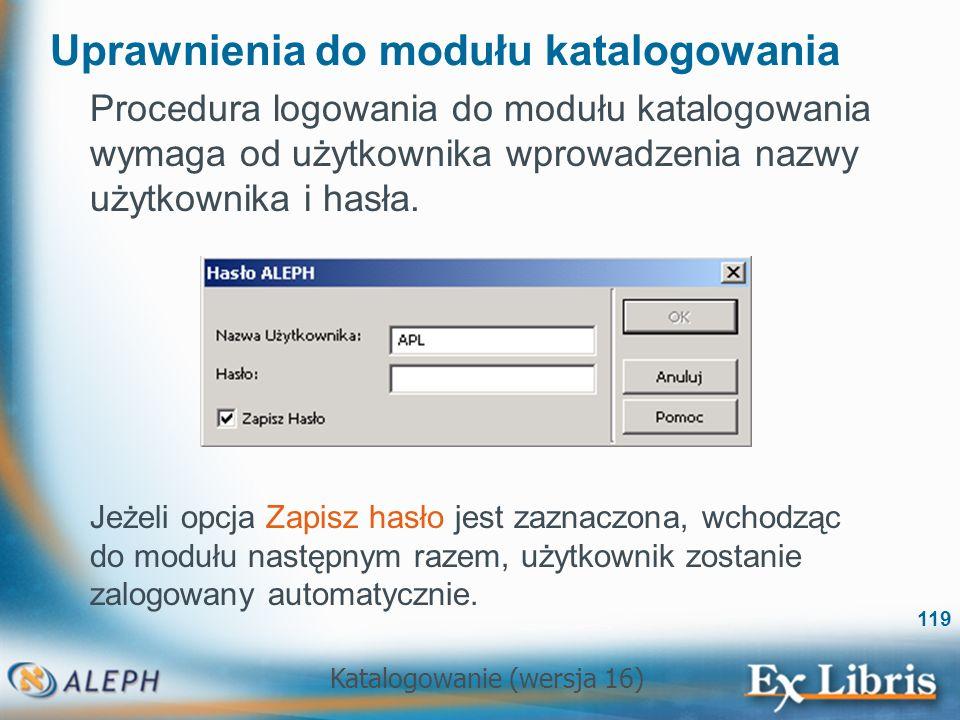 Uprawnienia do modułu katalogowania