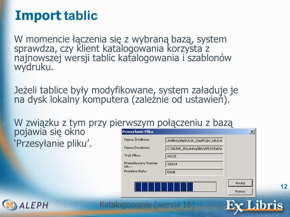 Import tablic