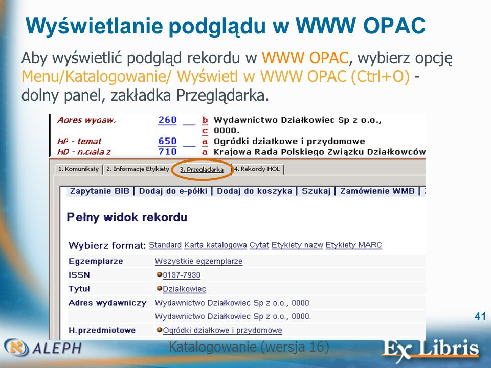 Wyświetlanie podglądu w WWW OPAC
