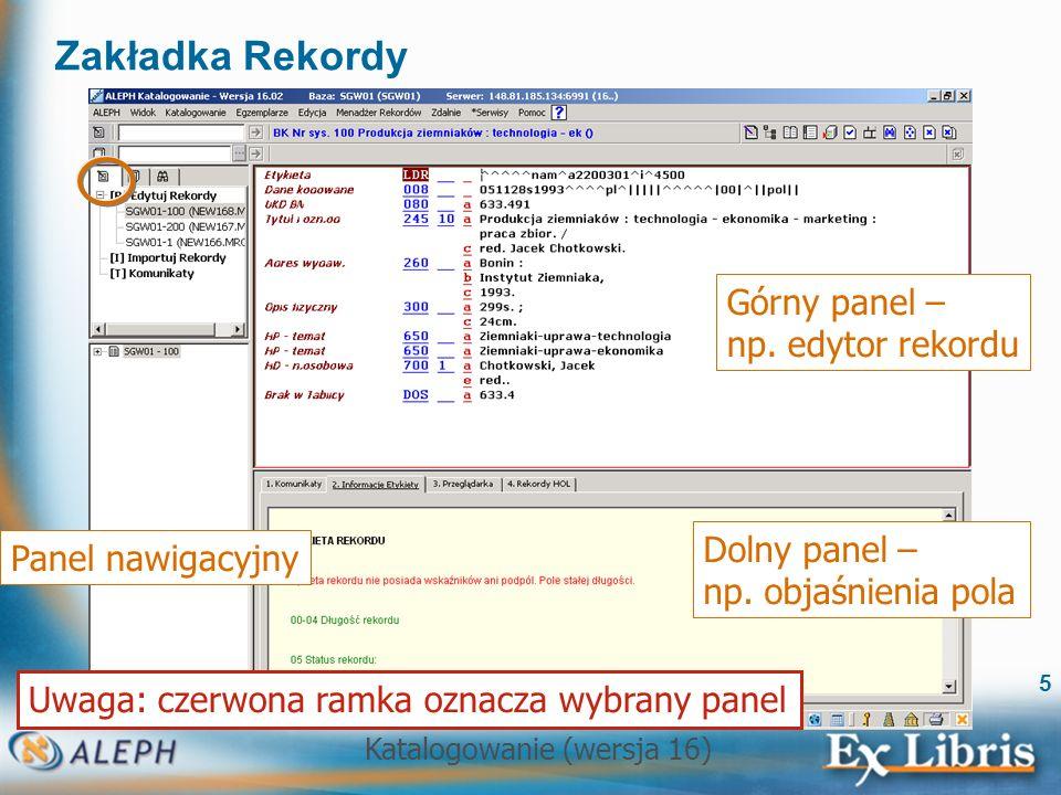 Zakładka Rekordy Górny panel – np. edytor rekordu Dolny panel –
