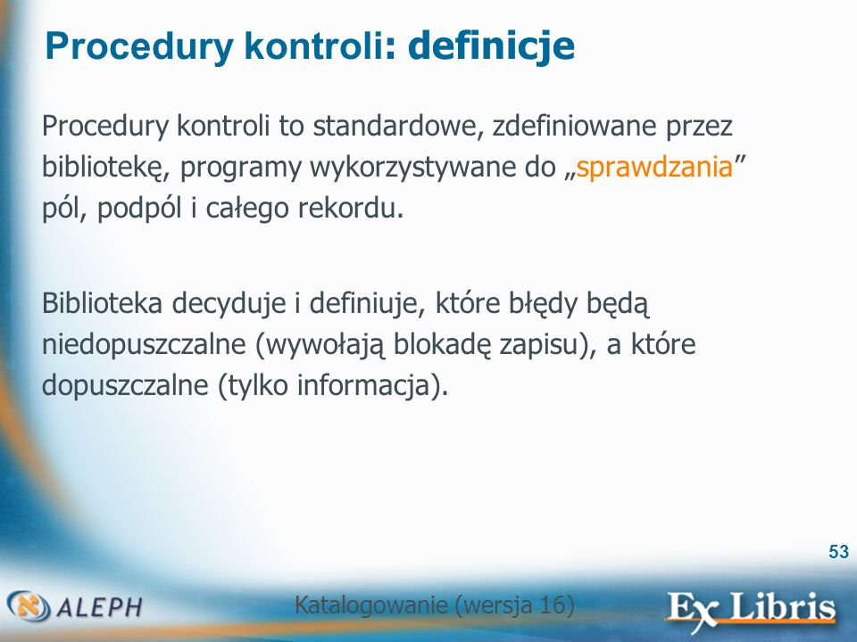 Procedury kontroli: definicje