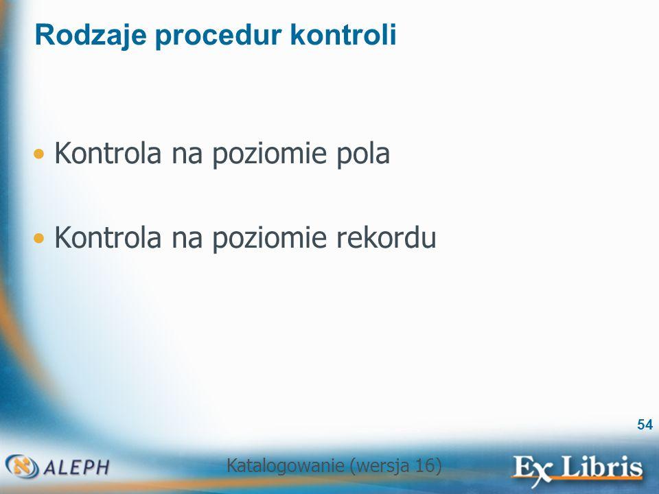 Rodzaje procedur kontroli