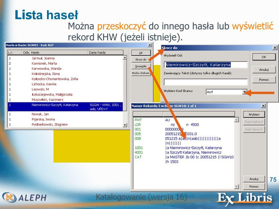 Lista haseł Można przeskoczyć do innego hasła lub wyświetlić rekord KHW (jeżeli istnieje).