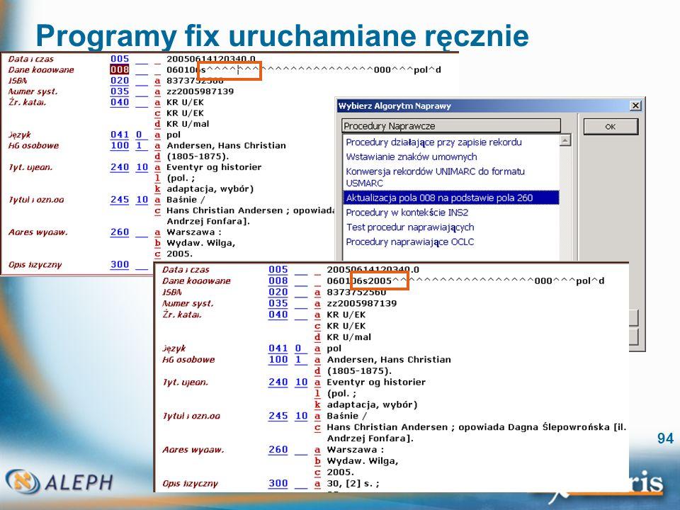 Programy fix uruchamiane ręcznie