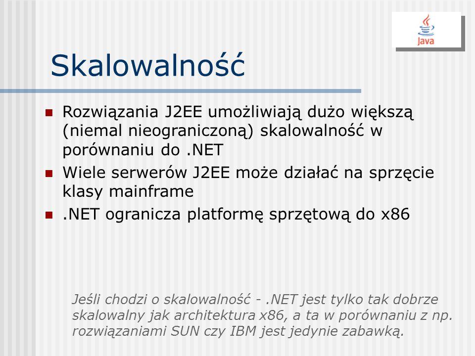 Skalowalność Rozwiązania J2EE umożliwiają dużo większą (niemal nieograniczoną) skalowalność w porównaniu do .NET.