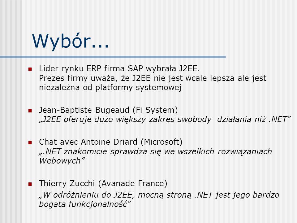 Wybór...Lider rynku ERP firma SAP wybrała J2EE. Prezes firmy uważa, że J2EE nie jest wcale lepsza ale jest niezależna od platformy systemowej.