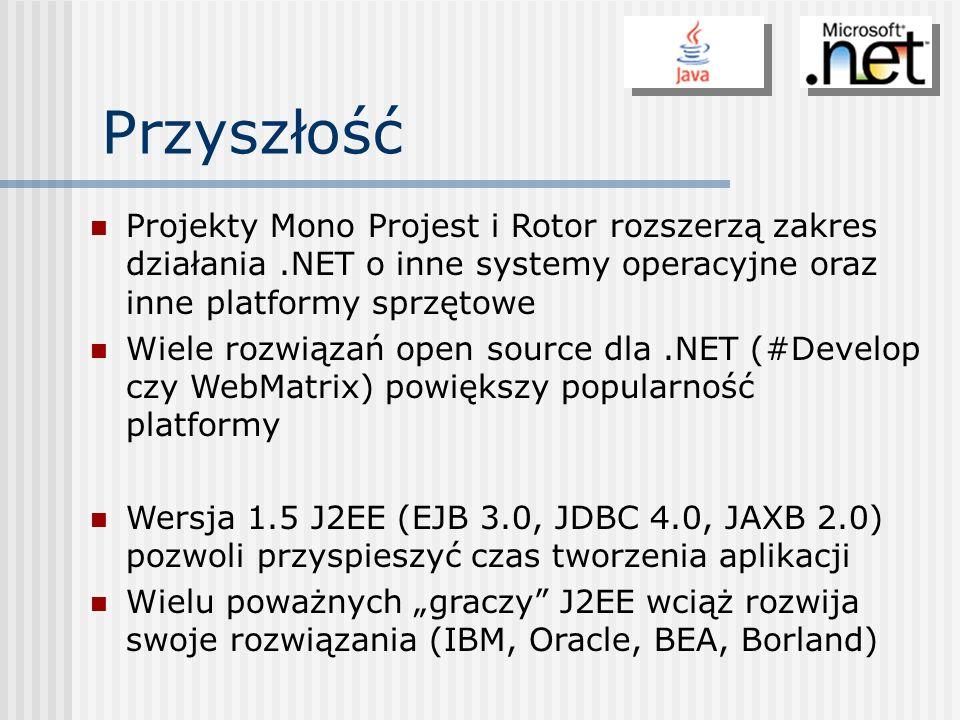 PrzyszłośćProjekty Mono Projest i Rotor rozszerzą zakres działania .NET o inne systemy operacyjne oraz inne platformy sprzętowe.