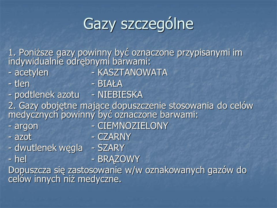 Gazy szczególne 1. Poniższe gazy powinny być oznaczone przypisanymi im indywidualnie odrębnymi barwami: