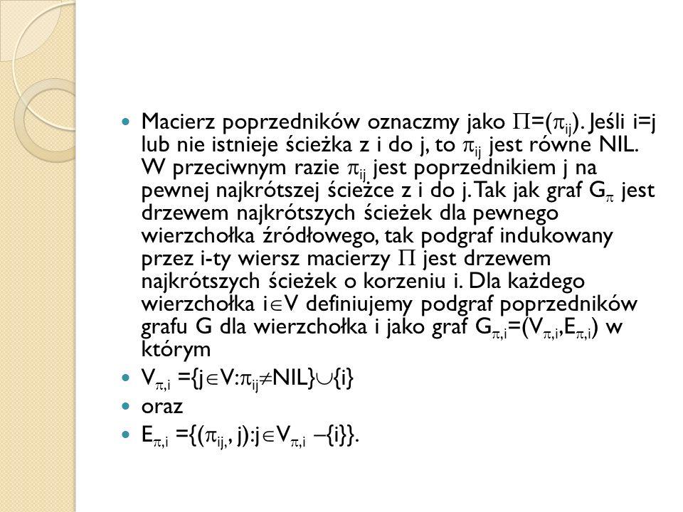 Macierz poprzedników oznaczmy jako =(ij)