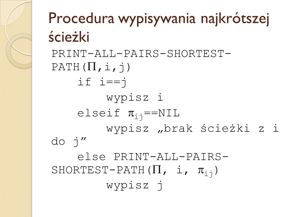 Procedura wypisywania najkrótszej ścieżki