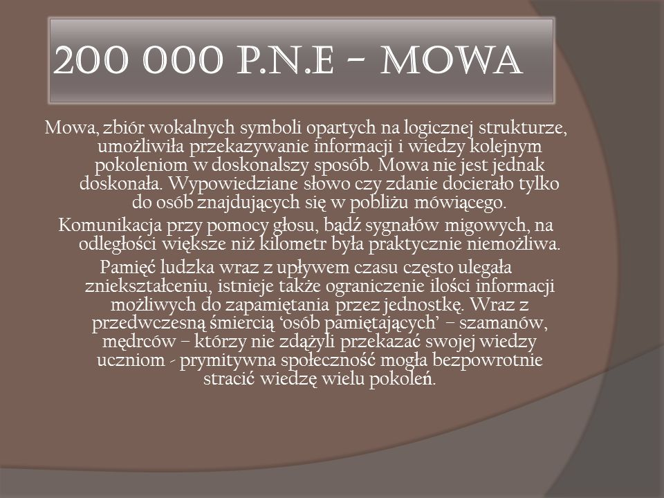 200 000 p.n.e - Mowa