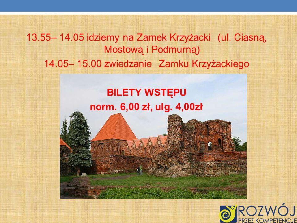 13. 55– 14. 05 idziemy na Zamek Krzyżacki (ul