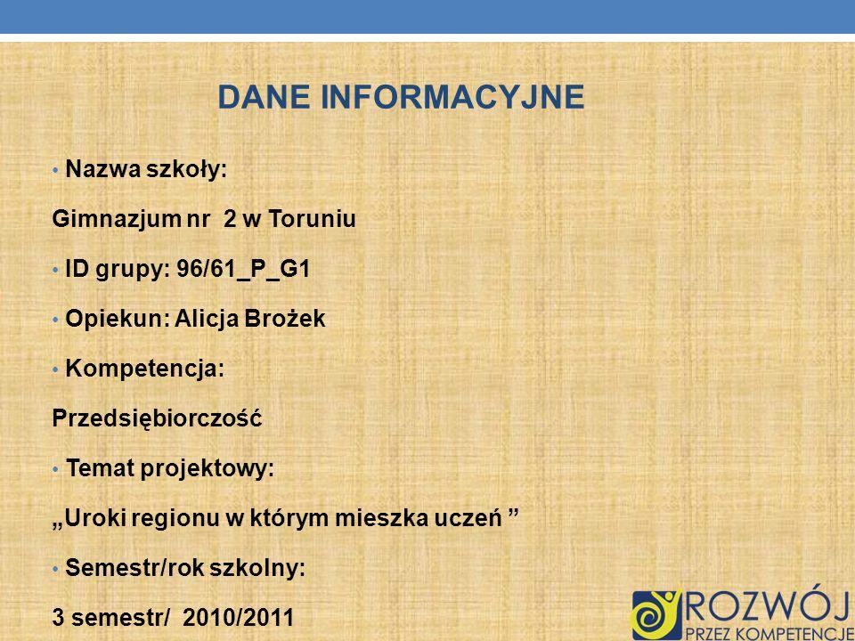 DANE INFORMACYJNE Nazwa szkoły: Gimnazjum nr 2 w Toruniu