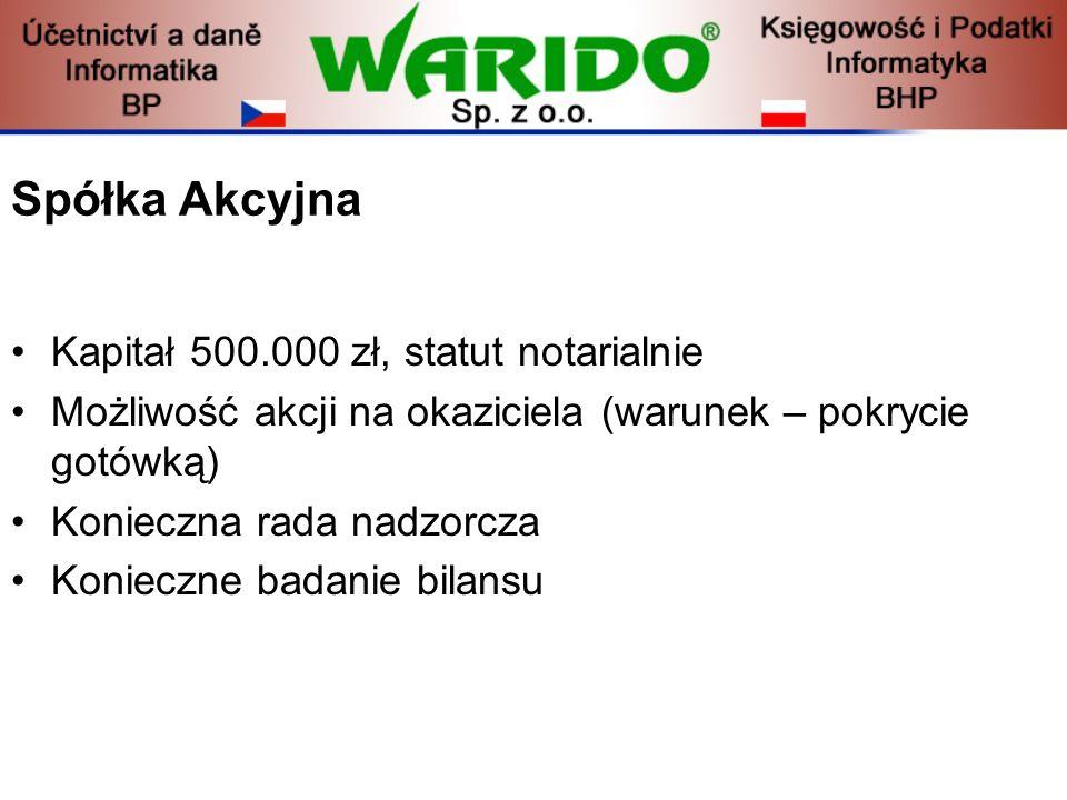 Spółka Akcyjna Kapitał 500.000 zł, statut notarialnie