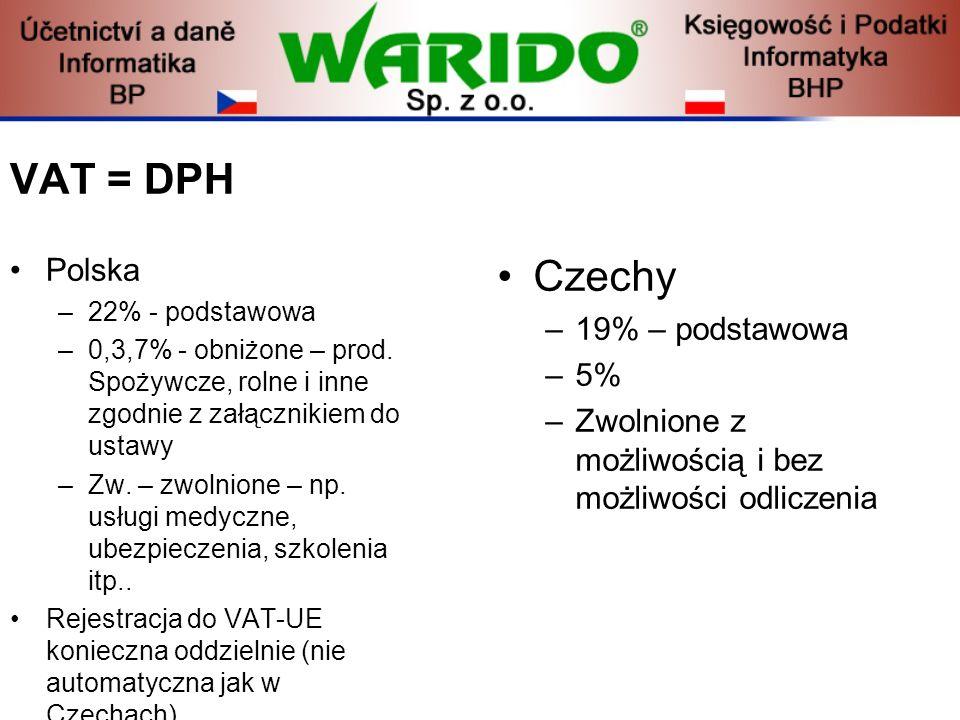 VAT = DPH Czechy Polska 19% – podstawowa 5%