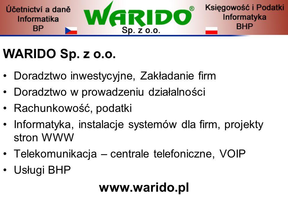 WARIDO Sp. z o.o. www.warido.pl