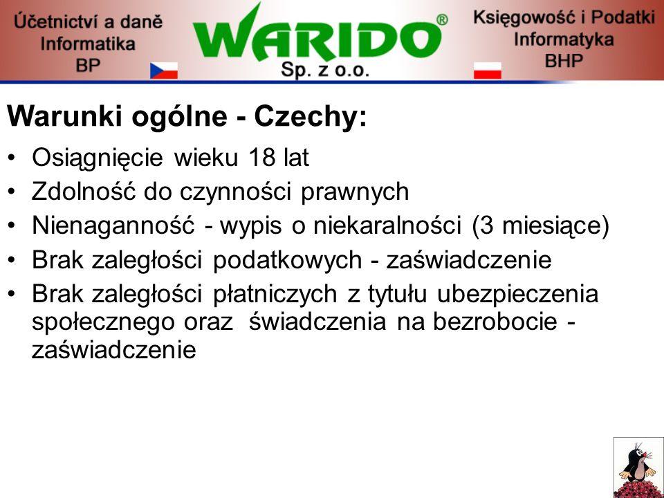 Warunki ogólne - Czechy:
