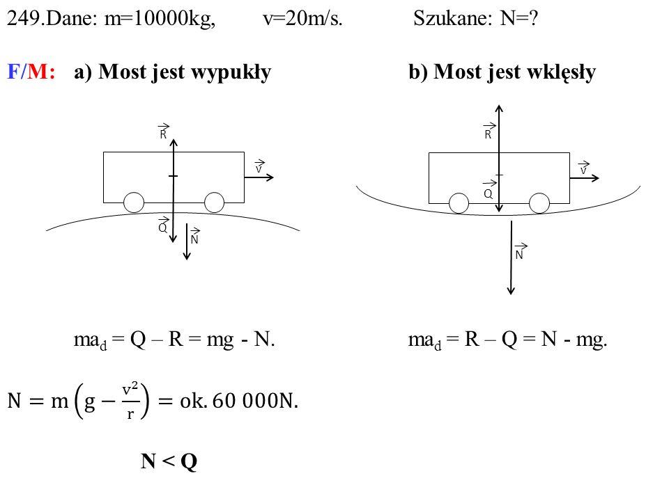 249.Dane: m=10000kg, v=20m/s. Szukane: N=