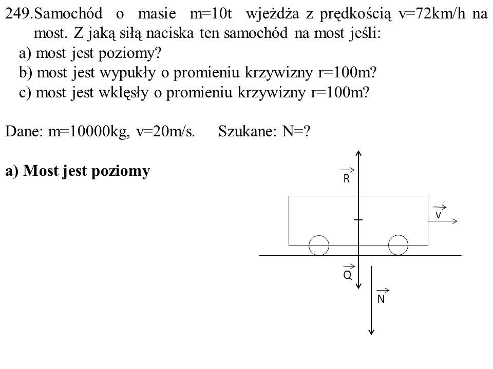 b) most jest wypukły o promieniu krzywizny r=100m