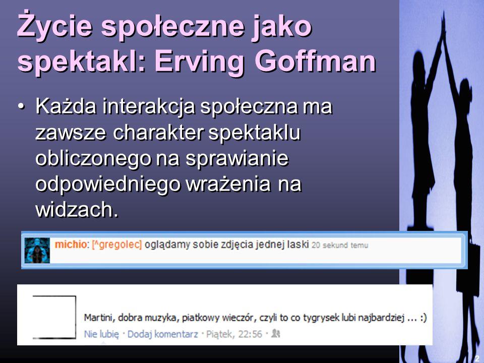 Życie społeczne jako spektakl: Erving Goffman