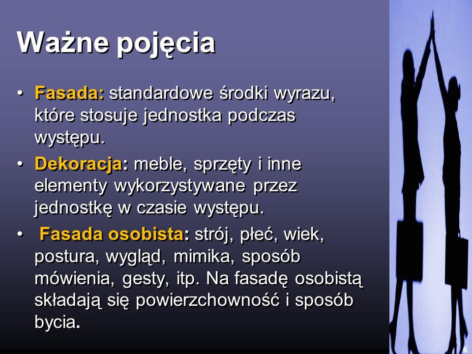 Ważne pojęcia Fasada: standardowe środki wyrazu, które stosuje jednostka podczas występu.